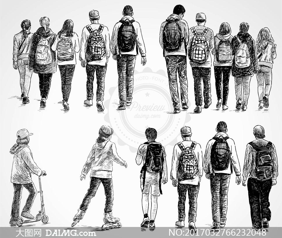 背影黑白手绘素描速写背后背包包包休闲学生书包并排滑板车轮滑男女