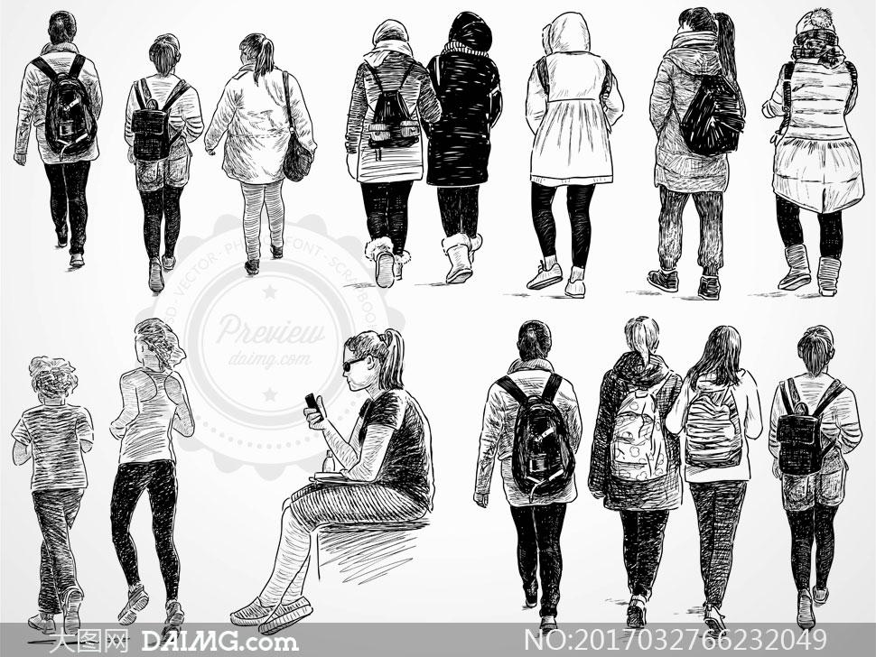 人物背影黑白手绘素描速写背后背包包包休闲学生书包玩手机跑步慢跑