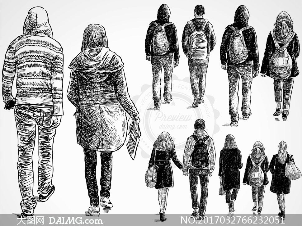 关 键 词: 矢量素材矢量图设计素材人物素材矢量人物背影黑白手绘