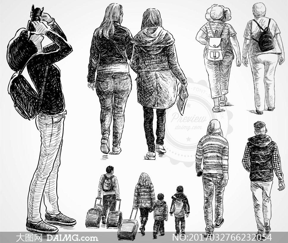 背影黑白手绘素描速写背后休闲摄影师拍照行李箱拉杆箱双肩包老人老年