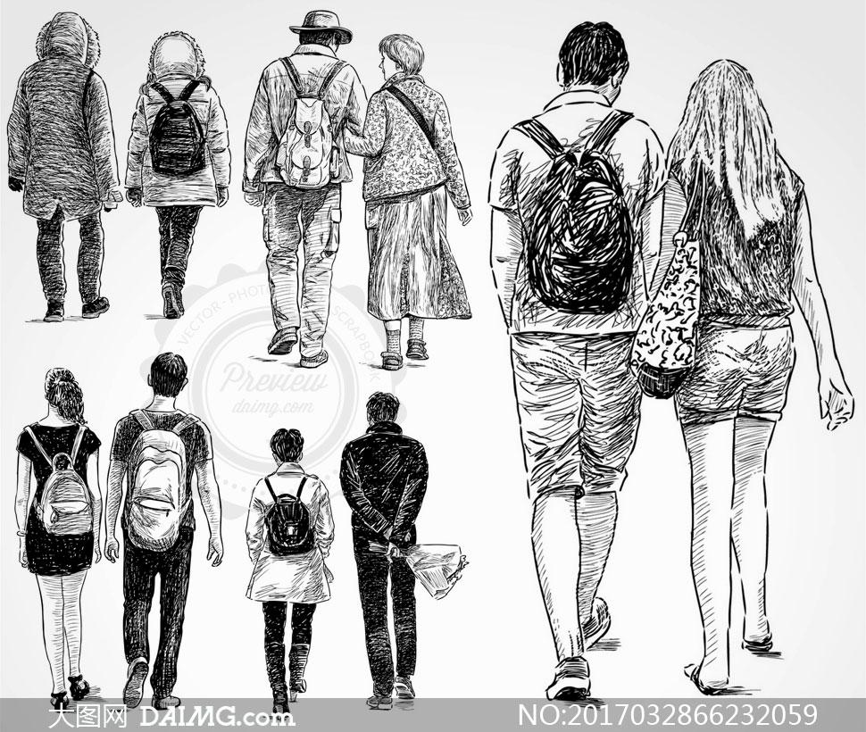 黑白手绘素描效果人物矢量素材v14