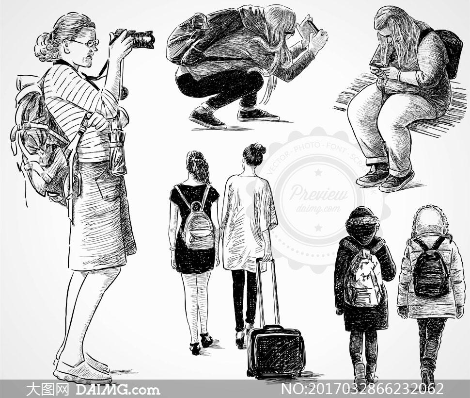黑白手绘素描效果人物矢量素材v17