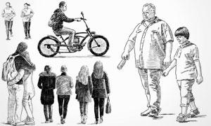黑白手绘素描效果人物矢量素材V18