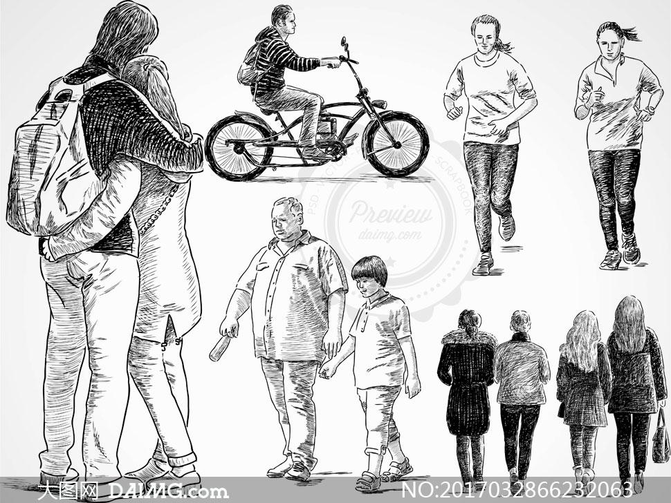 人物素材矢量人物背影黑白手绘素描速写背后休闲双肩包骑车跑步慢跑