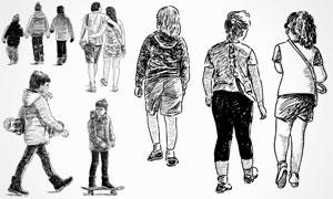 黑白手绘素描效果人物矢量素材V19