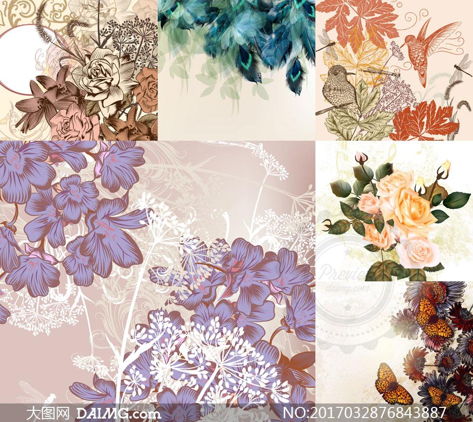 怀旧风格羽毛玫瑰与小鸟等矢量素材