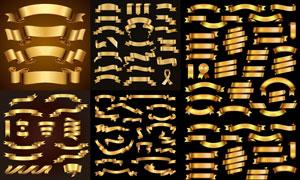 金色多种款式飘带设计元素矢量素材