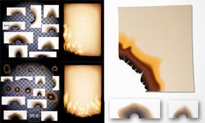 被火燒過的紙張等標簽矢量素材集V1