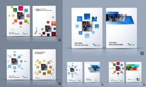 多彩小方块装饰的画册封面矢量素材