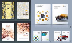 立方体等几何元素画册封面矢量素材