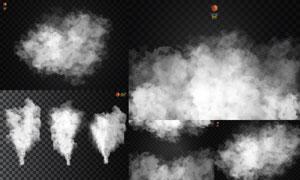 黑白格子背景与白色的烟雾矢量素材