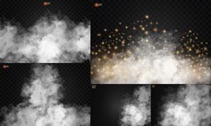 白色烟与闪闪的星光等创意矢量素材