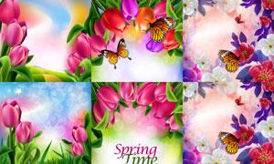 春天花草植物与蝶恋花美景矢量素材