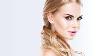 金发妆容美女人物写真摄影高清图片
