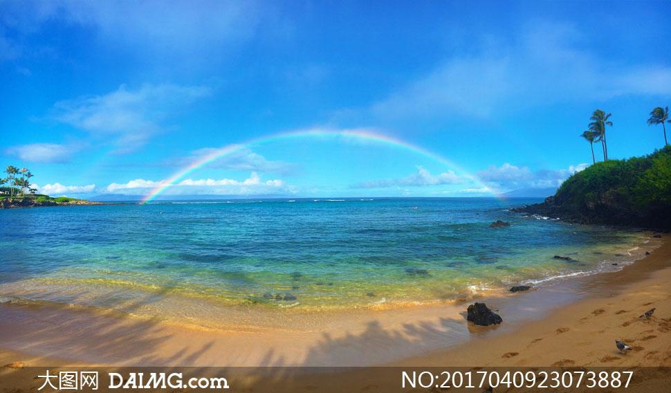 蓝天天空白云云层云彩多云彩虹树木树丛大海海面海水