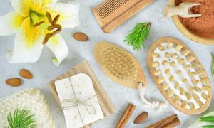 百合花与SPA适用用品摄影高清图片