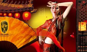 折扇灯笼与红衣美女等创意分层素材