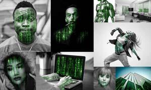 人像转黑客帝国数字矩阵动画效果PS动作