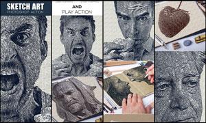 抽象的人像素描艺术效果PS动作