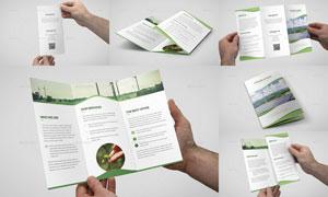 绿色波形线条元素多用途三折页模板