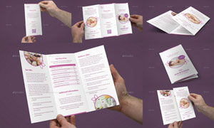 美容护肤健康主题折页设计分层模板