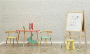 房间画架与桌椅玩具等摄影高清图片