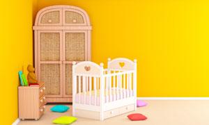 房间角落的衣橱与婴儿床等高清图片