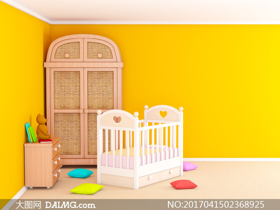 房间角落的衣橱与婴儿床等高清图片 - 大图网设计素材
