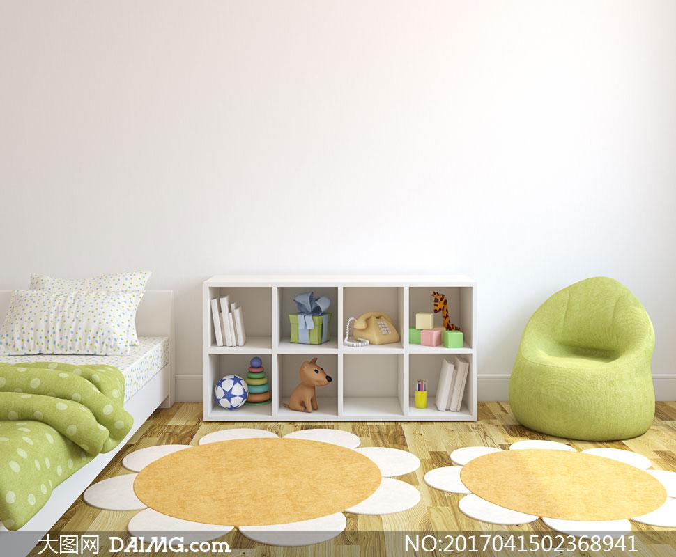 儿童床与收纳柜沙发等摄影高清图片