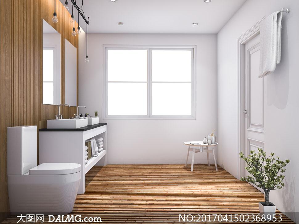 家装渲染图家居家具效果图装潢房间窗户射灯筒灯毛巾架置物架浴巾房门
