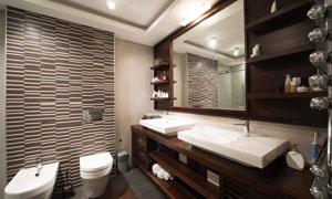 豪华浴室实景灯光照明效果高清图片