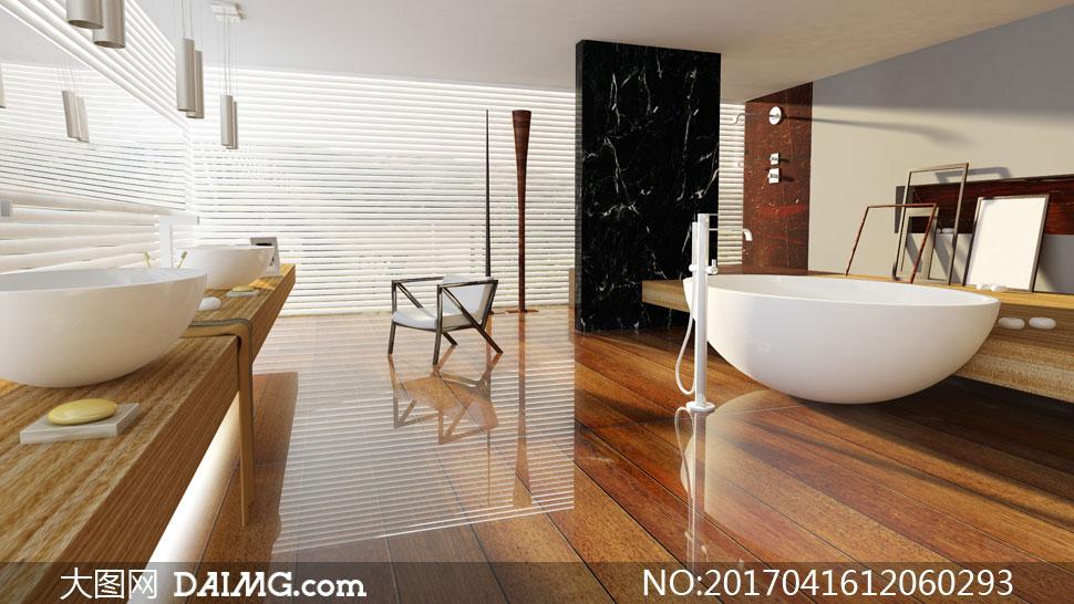 镜面般的浴室房间内景摄影高清图片 - 大图网设计素材图片