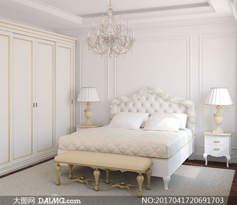 欧式装修风格卧室内景陈设高清图片