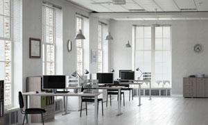房间摆放整齐的办公桌摄影高清图片