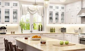 开放式厨房与餐厅桌椅摄影高清图片