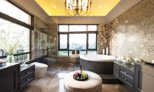 别墅豪华浴室实景效果摄影高清图片