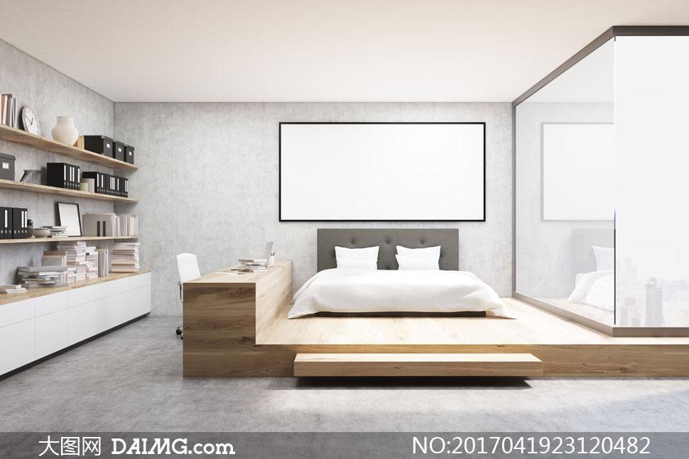 图装潢房间卧室卧房装饰画挂画白色空白置物架书桌大床双人床被子枕头