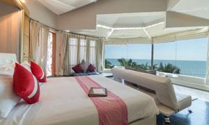 豪华高档的海景房卧室摄影高清图片