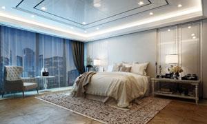 亮着灯的豪华卧室实景摄影高清图片