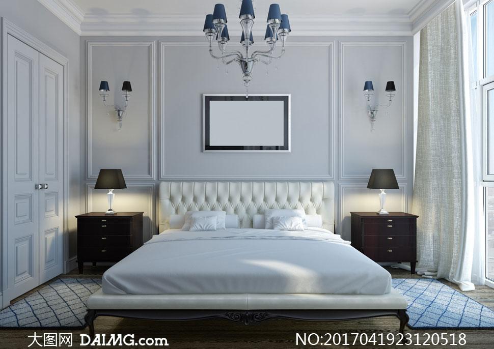 装修效果图装潢房间卧房卧室窗帘窗户房门吊灯壁灯装饰画挂画空白欧式