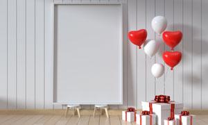房间里空白画框与桃心气球高清图片