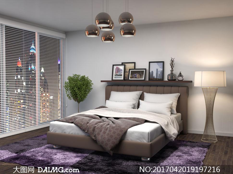 臥室百葉窗與床頭的置物架高清圖片 - 大圖網設計素材