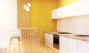现代简约风格厨房吧台效果高清图片