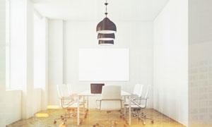 会议室桌椅与悬挂着的吊灯高清图片
