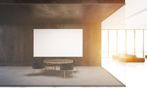 空白装饰画应用效果与桌椅高清图片
