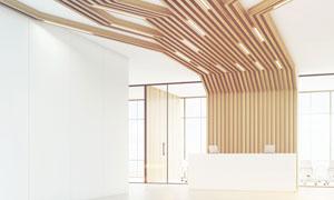 公司前台与创意造型的吊顶高清图片
