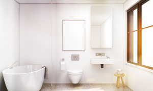 卫生间里的浴缸等卫浴产品高清图片