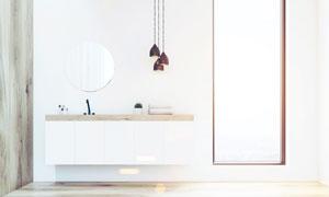 悬挂式浴室柜与空白装饰画高清图片