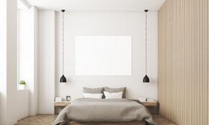 卧室无框画与在两侧的吊灯高清图片