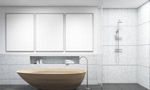 木质浴缸与三幅空白装饰画高清图片